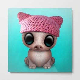 Cute Baby Pig Wearing Pussy Hat Metal Print