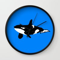orca Wall Clocks featuring Orca by Crayle Vanest