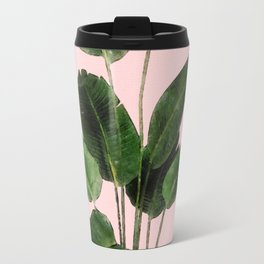 Bird of Paradise Plant on Pink Travel Mug