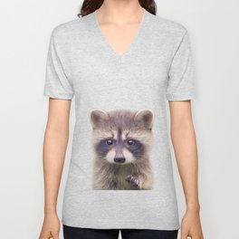 Raccoon - Colorful Unisex V-Neck