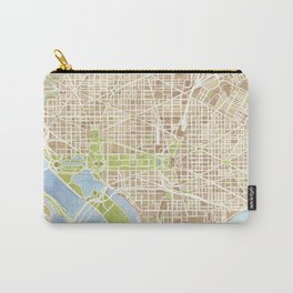Washington DC watercolor city map Carry-All Pouch