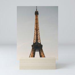 Eiffel Tower at dusk, Paris sunset   Classic Parisian travel photography, iconic travel prints to inspire   Saige Ashton Prints Mini Art Print