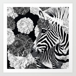 ZEBRA AND CABBAGE ROSES BLACK AND WHITE Art Print