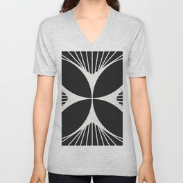 Diamond Series Floral Cross White on Charcoal Unisex V-Neck