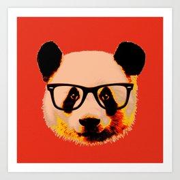 Panda with Nerd Glasses in Red Art Print