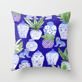chinese ginger jars, classic blue Chinoiserie Throw Pillow