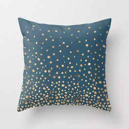 Chic Gold and Teal Rising Confetti Throw Pillow