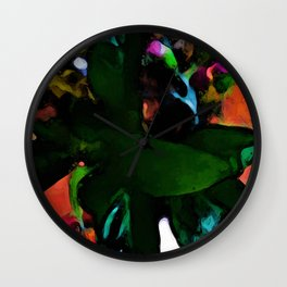 Still Life with Green Leaves and a Pink Floor Wall Clock