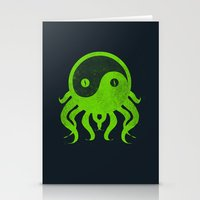 cthulu Stationery Cards featuring yin yang cthulu by frederic levy-hadida