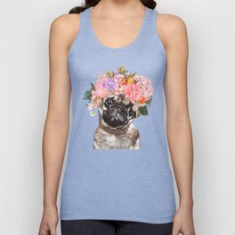 Pug with Flower Crown Unisex Tank Top