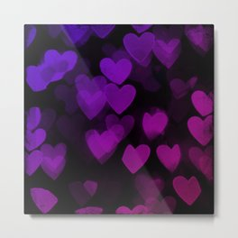 Goth hearts black pink purple Metal Print
