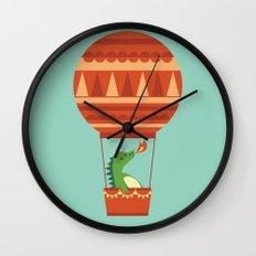 Dragon On Hot Air Balloon Wall Clock