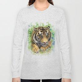 Tiger Watercolor Portrait Long Sleeve T-shirt