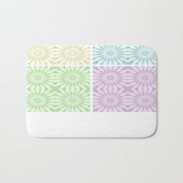 Pastel Pinwheel Flowers Panel Art Bath Mat