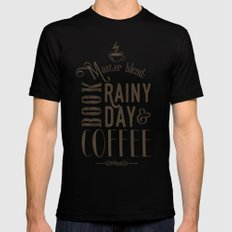 Coffee, book & rainy day II Black MEDIUM Mens Fitted Tee