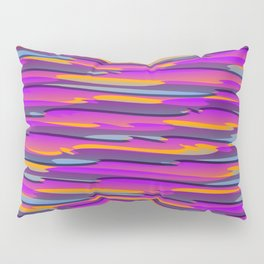 Horizontal vivid curved stripes with imitation of the bark of a violet tree trunk. Pillow Sham