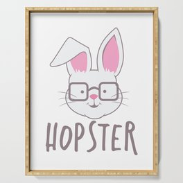 Cute Easter Bunny Hopster Rabbit print Serving Tray