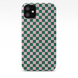 Cotton Candy Pink and Cadmium Green Checkerboard iPhone Case