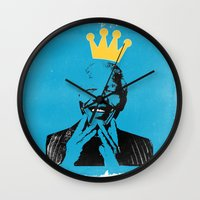 mandela Wall Clocks featuring King Mandela by César Ovalle