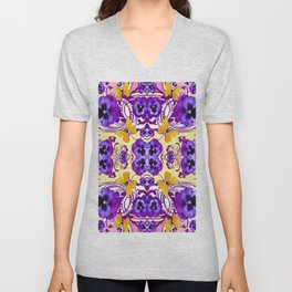 GOLDEN BUTTERFLIES & PURPLE PANSY FLOWERS Unisex V-Neck