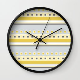 Squares and Stripes in Yellow and Gray Wall Clock