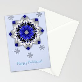 Magical snowflakes in blue, silver and grey Stationery Cards