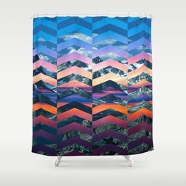 Sunsetting Mountains -Wide Chevrons Shower Curtain