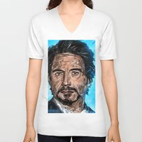 robert downey jr V-neck T-shirts featuring RD JR by Balazs Pakozdi