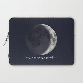 Waxing Crescent Moon on Navy - English Laptop Sleeve