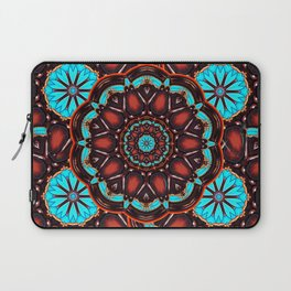 Abstract - Wood & Turquoise Pattern Laptop Sleeve