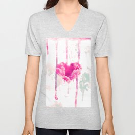 Bleed | Modern Pink Cloud Love Heart Pink Watercolor Drips Unisex V-Neck