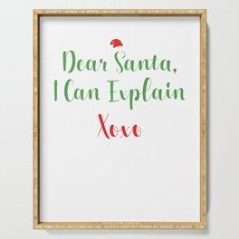 Dear Santa I Can Explain For Christmas Holiday Gift Serving Tray
