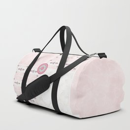 Pink White Marble Squares with Floral Accents Duffle Bag
