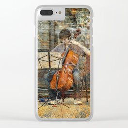 Sidewalk Cellist Clear iPhone Case
