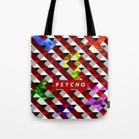 psycho Tote Bags featuring PSYCHO by Tia Hank