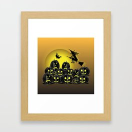 Pumpkins and witch in front of a full moon Framed Art Print