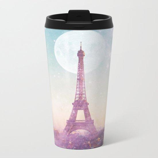 I LOVE PINK PARIS EIFFEL TOWER - Full Moon Universe Metal Travel Mug