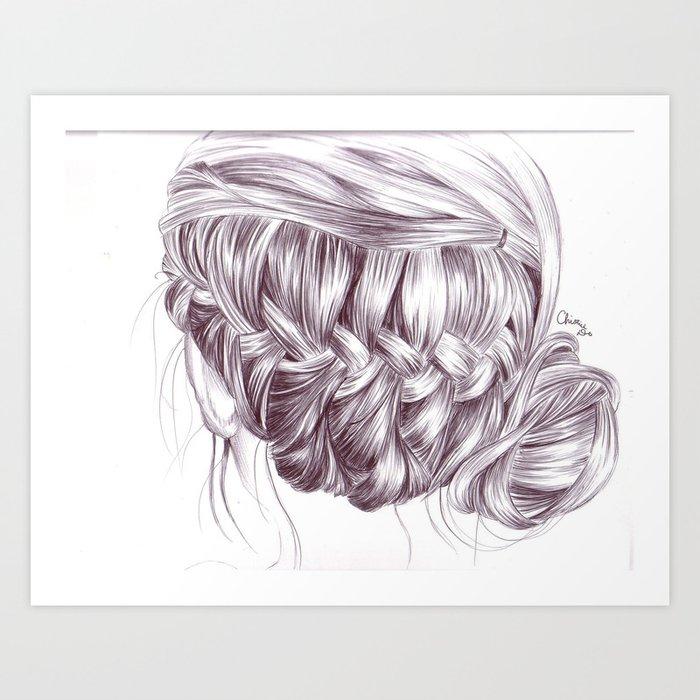Hair Drawing Art Print By Spoondraws Society6