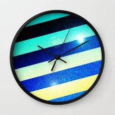 Striped Colorful Glitter Wall Clock