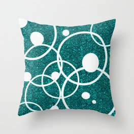 Circles on Black and Blue Throw Pillow