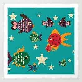 Cute retro fish Art Print