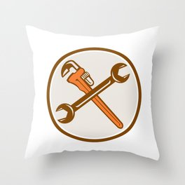 Spanner Monkey Wrench Crossed Circle Retro Throw Pillow