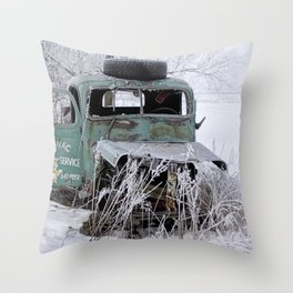 Saranac Cities Service Truck in the Hoar Frost of Winter Throw Pillow