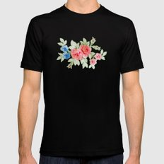 Flowers - Painting Style Mens Fitted Tee Black SMALL