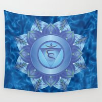 chakra Wall Tapestries featuring Throat Chakra by Gypsy Owl Productions
