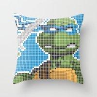 teenage mutant ninja turtles Throw Pillows featuring Teenage Mutant Ninja Turtles - Leonardo by James Brunner