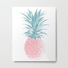 Simple Modern Boho Pineapple Drawing Metal Print