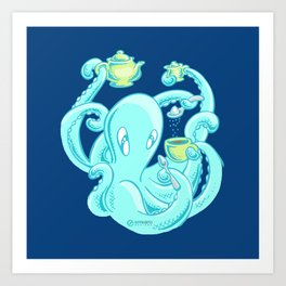 Squiggles: The perfect coffee (dark blue) Art Print