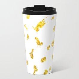 Gold glitter metallic spots pattern Travel Mug