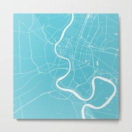 Bangkok Thailand Minimal Street Map - Turquoise and White Metal Print